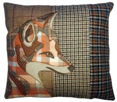 tweed mixed fabric animal applique cushion fox country natural wool
