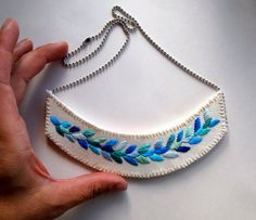 Embroidered jewelry blue necklace laurel leaf by AnAstridEndeavor, $60.00
