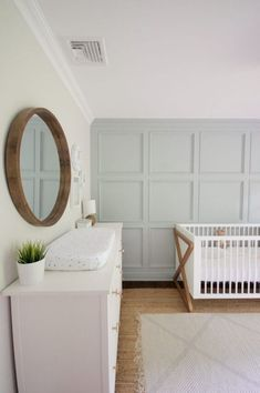 White Floral Nursery Makeover Reveal – Bless'er House Nursery with grays, whites, and wood tones Baby Boys, Baby Boy Rooms, Baby Boy Nurseries, Modern Nurseries, Baby Bedroom, Nursery Themes, Nursery Room, Girl Nursery, Nursery Ideas