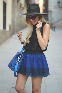 Dark Blue. mini skirt & hat
