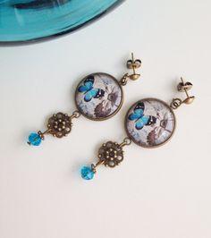 Butterfly Earrings Cottage Earrings Shabby por EljardindeMayla