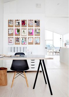 Office - I like the concept of using clipboards for sketches/design.  I imagine in a sewing room that would be great - clip fabric samples and patterns for each project on a different board.