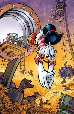 Uncle Scrooge in his swimming outfit dives into his money | Tags: Huey, Duey and Louie, money, gold, vault, bags of money, safe