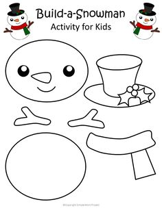 Printable Christmas Snowman Craft with FREE Template - Simple Mom Project - - Decorate the classroom by using this free printable winter snowman template as a diy Christmas ornament or snowman coloring page! Daycare Crafts, Toddler Crafts, Preschool Crafts, Craft Activities, Preschool Age, Kids Christmas Activities, Christmas Crafts For Kindergarteners, Christmas Projects For Kids, Kindergarten Christmas Crafts