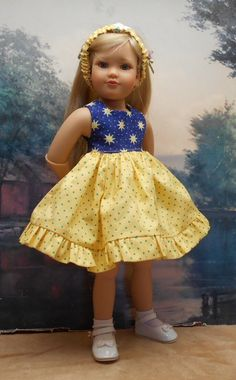 """Blue and Yellow set by BEVBEESE to fit 17.5"""" and 18"""" Kidz'n'Cats doll in Dolls & Bears, Dolls, Clothes & Accessories, Modern, Other Modern Doll Clothing 