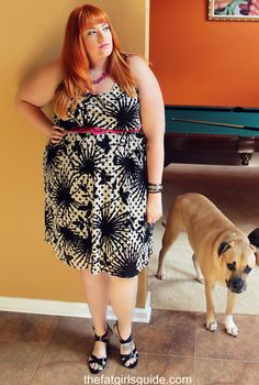 Fat girl with dog