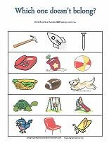 What goes together? What doesn't belong? Fun worksheets and cut and paste activities for preschoolers to learn critical thinking skills.