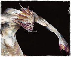 #sea #creature #siren #Cucks #illustration #sketch #water #monster #card #game #fishmen