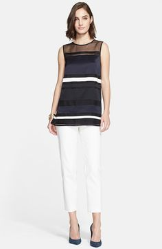 St. John Collection Stripe Silk Organza Tunic available at #Nordstrom