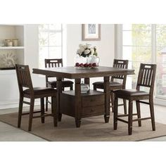 Beautiful Rodriguez 5 Piece Pub Table Set Kitchen Dinings Room Furniture from top store Furniture, Dining, Counter Height Dining Sets, Counter Height Dining Table, Breakfast Nook Dining Set, Dining Furniture, Dining Table, Dining Room Sets, Interior Design Dining
