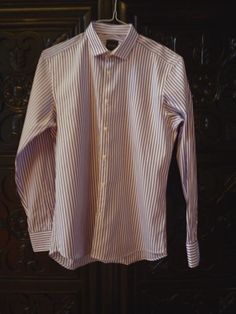 SIMON SPURR White with wide purple stripes Shirt MD Pre-worn Gently - Fabulous! #SPURR
