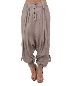 Look what I found on #zulily! Taupe Button-Front Linen Harem Pants #zulilyfinds