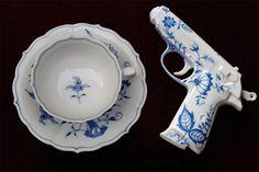 Porcelain pistols! lovely. #packingpretty