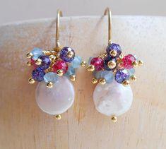 Thalia coin pearl bridal cluster earrings blue hot pink dangle