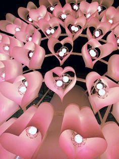 pink heart lanterns