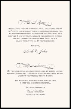 In Remembrance Wedding Program Thank You Wording