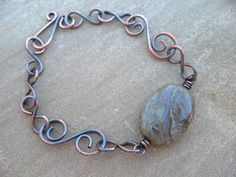 handmade jewelry | Handcrafted copper swirls and links accented with a wire wrapped agate ...