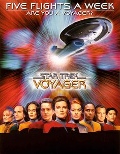 """Chuck's Stuff has this 1999 Star Trek Voyager promo poster for sale for a mere $8. Titled """"Five Flights A Week/Are You a Voyager?"""" Sent to TV stations only. Nice heavy stock, 24x30"""", full main cast and ship pictured. Never hung. Has small zigzag printing wrinkle below and to right of R near the actors images, and couple very minor handling kinks. Nice black area at bottom for autographs. Also have 8x11"""" cards of this, 1 buck each. #startrek #startrekvoyager #sevenofnine #7of9"""