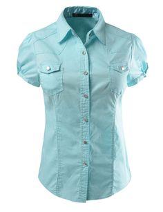 Womens Cotton Short Sleeve Button Down Shirt
