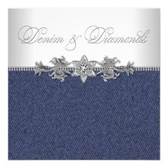 Deals Elegant Denim and Diamonds Party 5.25x5.25 Square Paper Invitation Card today price drop and special promotion. Get The best buy