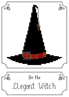 Cross Stitch this witch's hat for the Batty Witch.If the hat suit's your demeanor frame it and let everyone know. Fall Cross Stitch, Cross Stitch Fairy, Cross Stitch Boards, Cross Stitch Needles, Halloween Embroidery, Halloween Cross Stitches, Free Cross Stitch Charts, Cross Stitch Patterns, Free Charts
