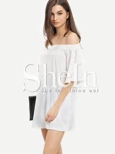 6e83fb53e6 White Off The Shoulder Half Sleeve Shift Dress White Off Shoulder, Off  Shoulder Blouse,