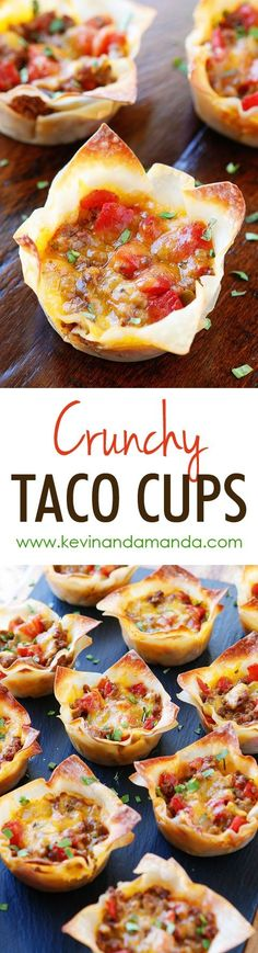These fun Crunchy Taco Cups are made in a muffin tin with wonton wrappers! Great for a taco party/bar. Everyone can add their own ingredients and toppings! Crunchy, delicious, and fun to eat! by jill