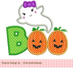 Halloween Ghost BOO- 4x4 5x7 Machine Embroidery Applique Design. $2.99, via Etsy.