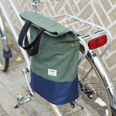 Linus Sac bike pannier bag khaki and navy
