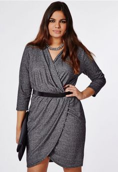 Plus Size Jersey Wrap Dress Grey Marl - Plus Size Dresses - Women's Plus Size - Missguided +