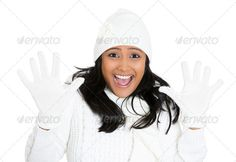Surprised winter weather woman ...  adult, amazed, arabic, astonished, attire, attractive, casual, clothing, cold, customer, disbelief, employee, ethnic, face, fashion, female, fleece, girl, hands, happy, indian, joyful, lady, latina, lovely, merchandise, mexican, mittens, model, multicultural, outfit, people, person, pretty, pullover, radiant, sale, season, shock, size, small, startled, student, stunned, stunning, stylish, subzero, weather, wool, youth