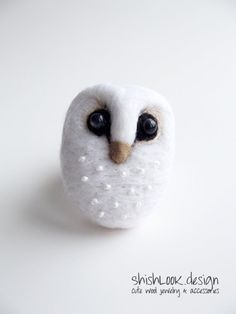White Barn Owl, Hand Felted Brooch, Wool Jewelry, Felt Animal, MADE TO ORDER 22$ by ShishLOOKdesign at Etsy
