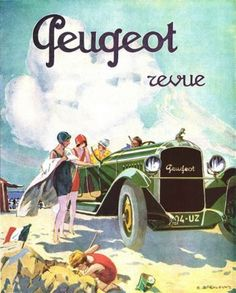 Éditions Clouet 29229 - Targa in Metallo, Motivo: Peugeot la Plage, Dimensioni 15 x 21 cm Art Deco Posters, Car Posters, Vintage Posters, Auto Peugeot, Vintage Cars, Antique Cars, Car Magazine, Car Illustration, Car Advertising