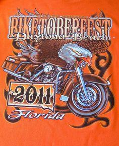 2011 Biketoberfest Daytona Beach FL Biker Long Sleeve Orange Shirt Men Sz L  #Delta #GraphicTee