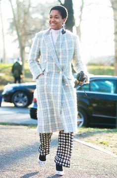 Tamu McPherson goes for a bold pattern-on-pattern outfit and pulls it off effortlessly
