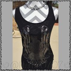 Rock and republic blouse Rock and republic blouse in the color black with silver designs and beads Rock & Republic Tops Tank Tops