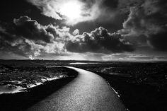 The road less travelled by GretaTu on DeviantArt Installation Art, Street Art, Sculptures, Country Roads, Clouds, Deviantart, River, Black And White, World