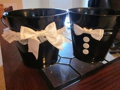 Dollar Dance Buckets... Great idea since this dance happened way too late in the night for me to be responsible for that much money, and I expect the same to be true of Kaitlin at my wedding!