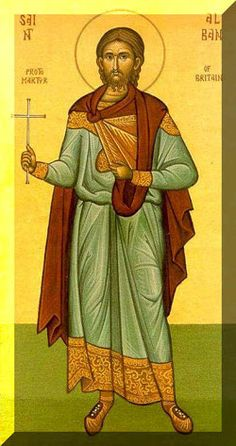 St. Alban, Roman Catholic and the first martyr of England, his own country (homeland).. What remained of Alban's relics were scattered in the time of the Dissolution. Feastday June 22