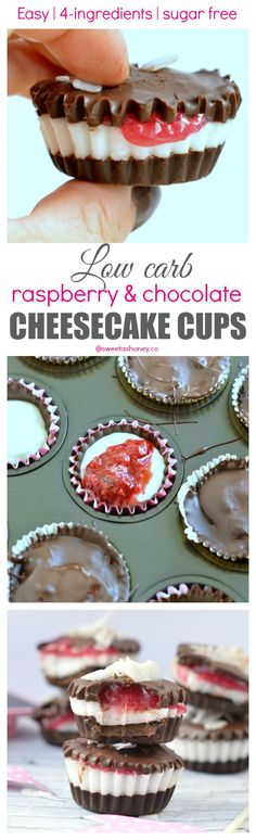 Low Carb Chocolate Cheesecake Cups with Sugar free Raspberry Jam filling. A great treat for diabetic 100 % Sugar free.-d-d