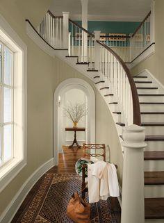 Bleaker beige walls, Waterbury green highlight upstairs & old prairie trim & ceiling