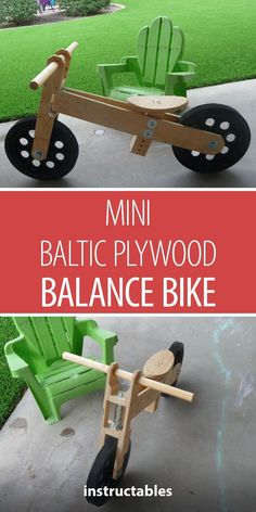 Woodworking Projects For Kids Mini Baltic Plywood Balance Bike Woodworking Projects For Kids, Woodworking Patterns, Popular Woodworking, Woodworking Jigs, Woodworking Furniture, Diy Wood Projects, Wood Crafts, Woodworking Basics, Woodworking Machinery