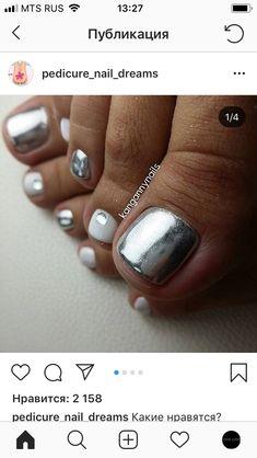 Silver mirror finish and white pedi nail art.♥️♥️ Silver mirror finish and white Toe Nail Color, Toe Nail Art, Nail Colors, Cute Toe Nails, Pretty Nails, My Nails, Feet Nails, Toe Nail Designs, Manicure And Pedicure