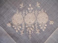 Beautiful antique 1700s 18th century hand embroidery monogramme royal Bees handkerchief | eBay