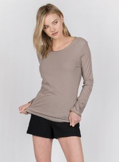 LONG SLEEVE ROUND NECK TOP WITH FRONT MESH OVERLAY AND RAW EDGE BREAST POCKET