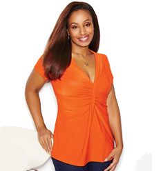 Ruched-Front Top- plunging V-neck flatters your bust. Polyester with spandex. Machine wash and dry. Imported. Shop online at tashina.avonrepresentative.com