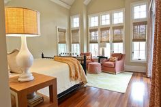 Simple window treatments with blinds--traditional bedroom by Margaret Donaldson Interiors