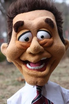 This crazed coffee addict came from the workshop of Thistledown Puppets.