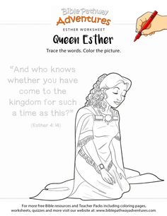 Esther coloring page and copywork activity | FREE download.