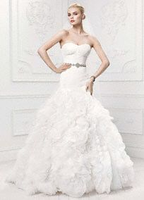 Truly Zac Posen Lace Mermaid Gown with Organza Rosette Skirt, Style ZP345021 #davidsbridal #zacposen #blacktiewedding